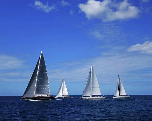 Photograph - 2017 Heineken Regatta Saint Martin Sint Maarten Line Of Boats by Toby McGuire