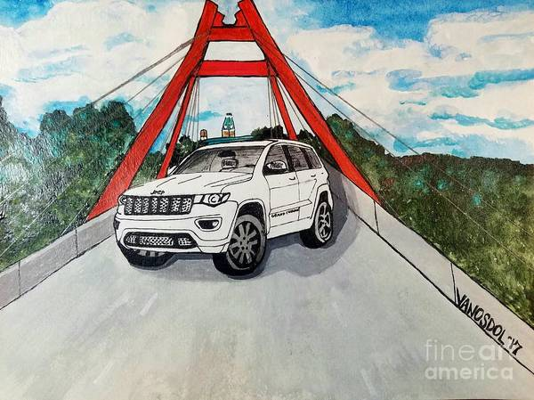 Courthouse Towers Painting - 2017 Jeep Grand Cherokee Watercolor  by Scott D Van Osdol