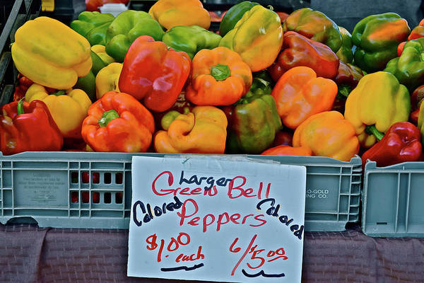 Photograph - 2017 Monona Farmers' Market Crate Of Bell Peppers by Janis Nussbaum Senungetuk