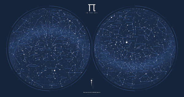 Visualization Digital Art - 2017 Pi Day Star Chart Azimuthal Projection by Martin Krzywinski