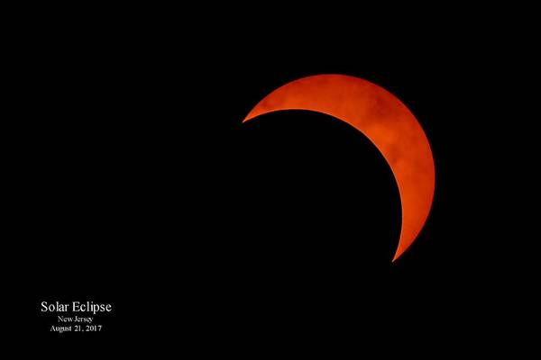 Photograph - 2017 Solar Eclipse From New Jersey With Date by Terry DeLuco