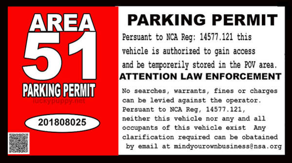 Digital Art - 2018 Area 51 Parking Permit by Walter Chamberlain