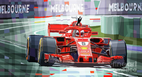 Wall Art - Mixed Media - 2018 Australian Gp Ferrari Sf71h Vettel Winner  by Yuriy Shevchuk