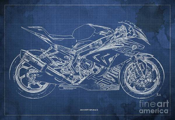 Wall Art - Digital Art - 2018 Bmw Hp4 Race Blueprint Blue Background Gift For Bikers by Drawspots Illustrations