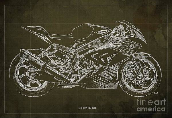 Wall Art - Digital Art - 2018 Bmw Hp4 Race Blueprint Brown Background Gift For Bikers by Drawspots Illustrations