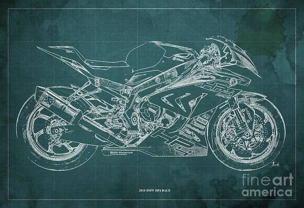Wall Art - Digital Art - 2018 Bmw Hp4 Race Blueprint Green Background Gift For Bikers by Drawspots Illustrations