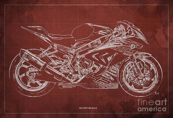 Wall Art - Digital Art - 2018 Bmw Hp4 Race Blueprint Red Background Gift For Bikers by Drawspots Illustrations