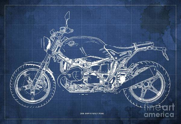 Wall Art - Digital Art - 2018  Bmw R Nine T Pure Blue Background Gift For Biker by Drawspots Illustrations