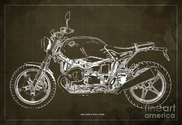 Wall Art - Digital Art - 2018  Bmw R Nine T Pure Brown Background by Drawspots Illustrations