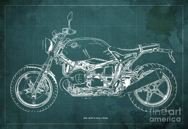 Wall Art - Digital Art - 2018 Bmw R Nine T Pure Green Background by Drawspots Illustrations