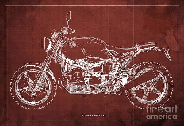 Wall Art - Digital Art - 2018 Bmw R Nine T Pure Red Background Gift For Biker by Drawspots Illustrations