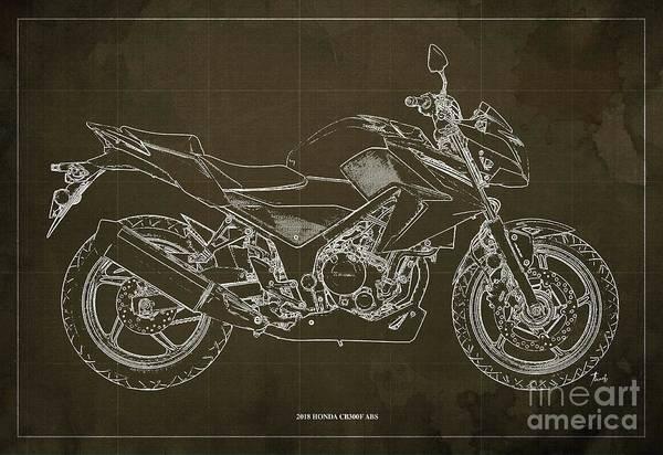 Wall Art - Digital Art - 2018 Honda Cb300f Abs Blueprint Brown Background by Drawspots Illustrations