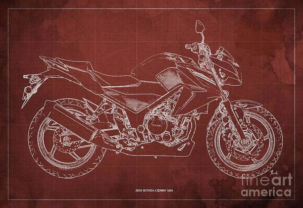 Wall Art - Digital Art - 2018 Honda Cb300f Abs Blueprint Red Background by Drawspots Illustrations