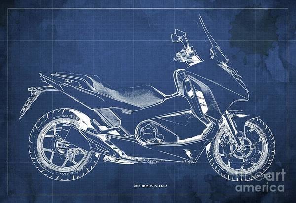 Wall Art - Digital Art - 2018 Honda Integra Blueprint - Blue Background Artwork For Bikers And Dads by Drawspots Illustrations