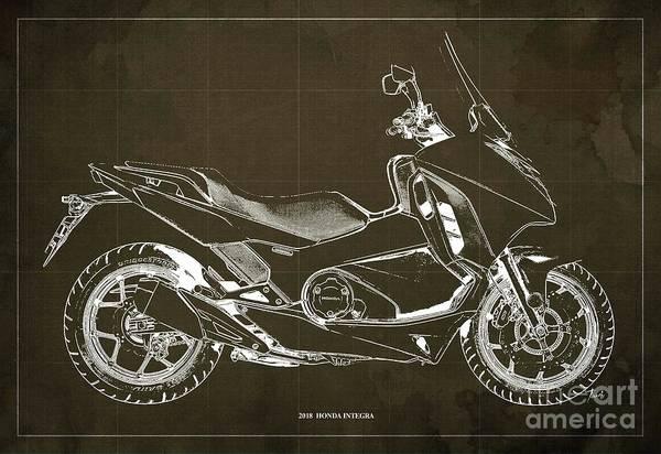 Wall Art - Digital Art - 2018 Honda Integra Blueprint Brown Background, Original Artwork by Drawspots Illustrations