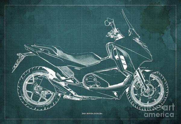 Wall Art - Digital Art - 2018 Honda Integra Blueprint Green Background by Drawspots Illustrations