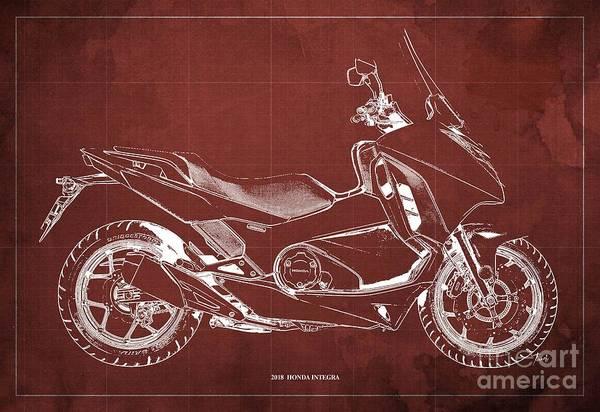 Wall Art - Digital Art - 2018 Honda Integra Blueprint  Red Background Gift For Him by Drawspots Illustrations