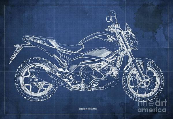 Wall Art - Digital Art - 2018 Honda Nc750s Blueprint  Blue Background Original Gift For Men by Drawspots Illustrations