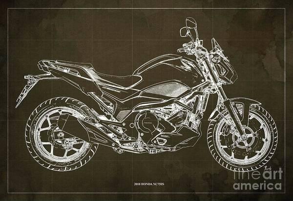 Wall Art - Digital Art - 2018 Honda Nc750s Blueprint  Brown Background. Moto. by Drawspots Illustrations