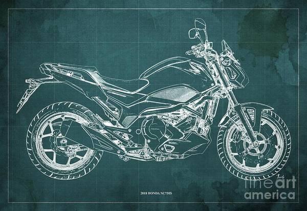 Wall Art - Digital Art - 2018 Honda Nc750s Blueprint Green Background by Drawspots Illustrations