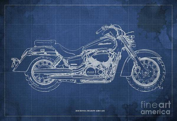 Wall Art - Digital Art - 2018 Honda Shadow Aero Abs Blueprint, Blue Blueprint by Drawspots Illustrations