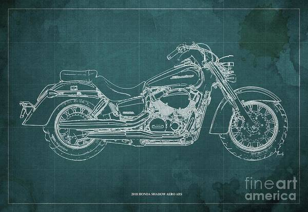 Wall Art - Digital Art - 2018 Honda Shadow Aero Abs Blueprint Ghreen Background Gift For Bikers by Drawspots Illustrations