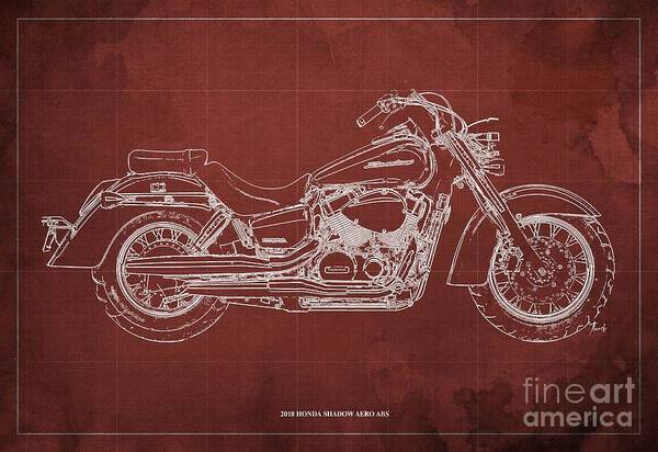 Wall Art - Digital Art - 2018 Honda Shadow Aero Abs Blueprint, Red Background by Drawspots Illustrations