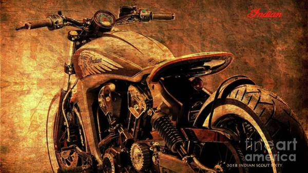 Wall Art - Digital Art - 2018 Indian Scout Sixty Original Bike, Christmas Gift For Bikers by Drawspots Illustrations