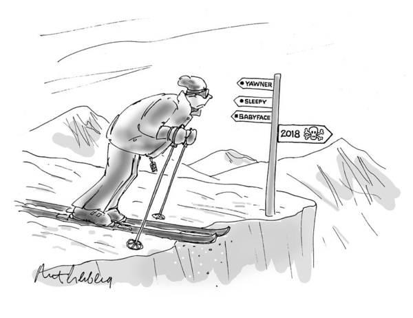 Skiing Drawing - 2018 by Mort Gerberg