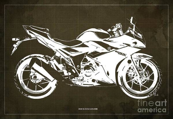 Wall Art - Digital Art - 2018 Suzuki Gsx250r Brown Background by Drawspots Illustrations