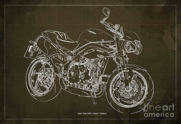 Wall Art - Digital Art - 2018 Triumph Speed Triple Blueprint Brown Background by Drawspots Illustrations