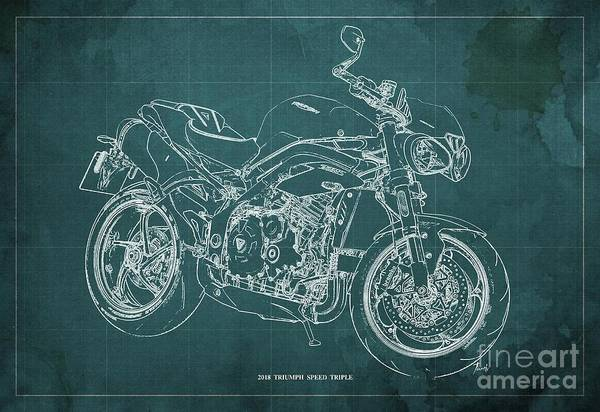 Wall Art - Digital Art - 2018 Triumph Speed Triple Blueprint Green Background Birthday Gift For Him by Drawspots Illustrations