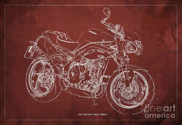 Wall Art - Digital Art - 2018 Triumph Speed Triple Blueprint Original Artwork Red Background by Drawspots Illustrations