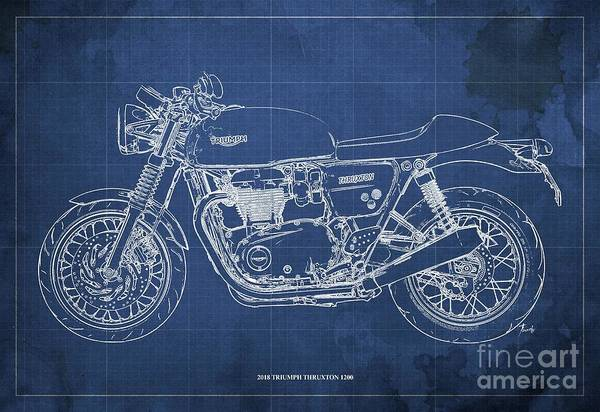 Wall Art - Digital Art - 2018 Triumph Thruxton 1200 Blueprint Blue Background by Drawspots Illustrations