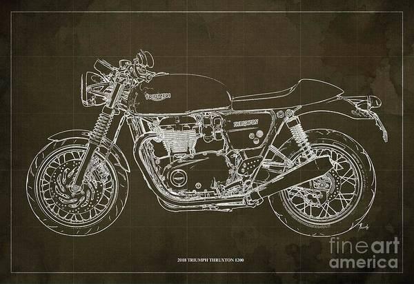 Wall Art - Digital Art - 2018 Triumph Thruxton 1200 Blueprint Brown Background by Drawspots Illustrations