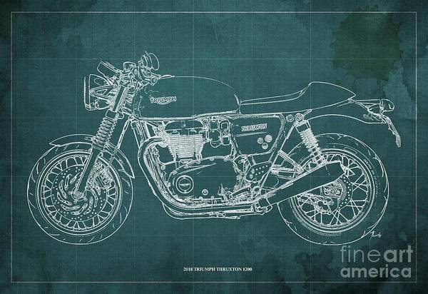 Wall Art - Digital Art - 2018 Triumph Thruxton 1200 Blueprint Green Background by Drawspots Illustrations