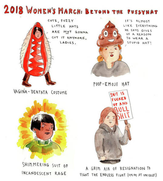 President Drawing - 2018 Womens March by Emily Flake