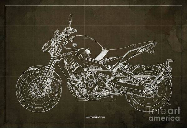 Wall Art - Digital Art - 2018 Yamaha Mt-09 Blueprint Brown Background by Drawspots Illustrations