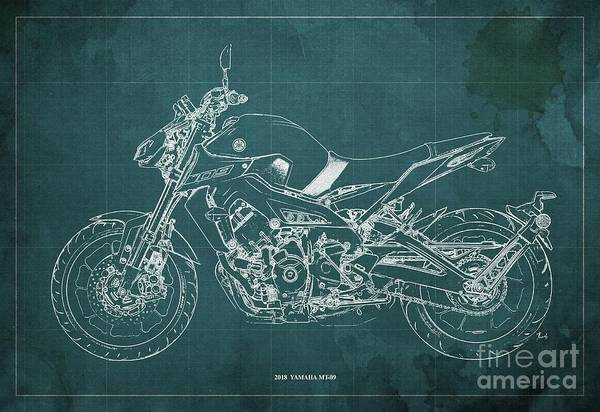 Wall Art - Digital Art - 2018 Yamaha Mt-09 Blueprint Green Background by Drawspots Illustrations