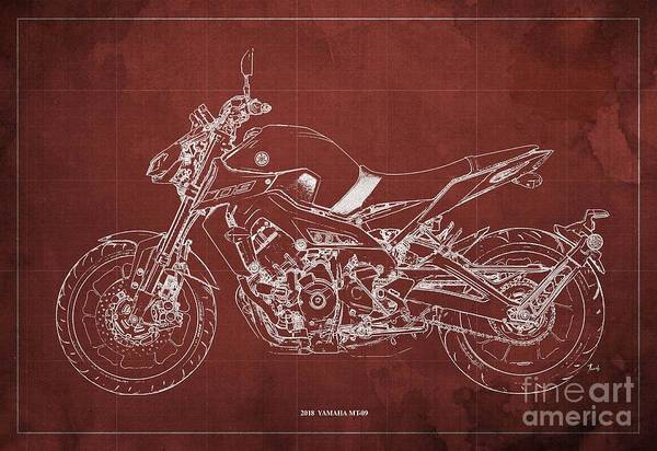Wall Art - Digital Art - 2018 Yamaha Mt-09 Blueprint Red Background by Drawspots Illustrations