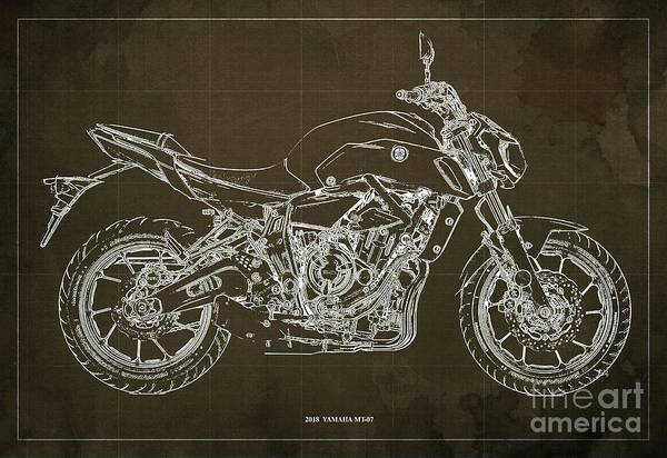 Wall Art - Digital Art - 2018 Yamaha Mt07 Blueprint  Brown Background Fathers Day Gift by Drawspots Illustrations