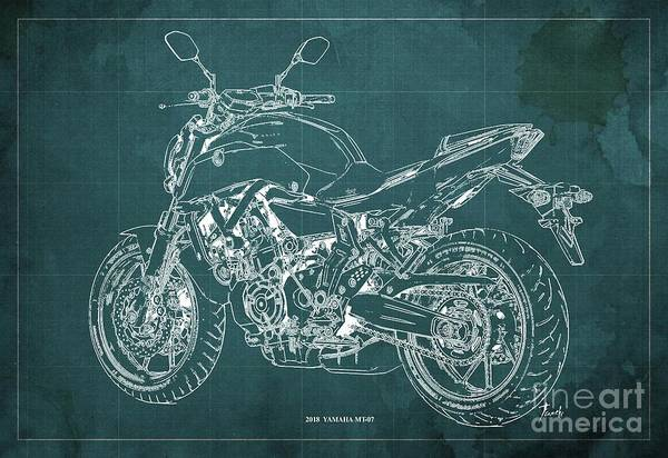 Wall Art - Digital Art - 2018 Yamaha Mt07 Blueprint Green Background Fathers Day Gift by Drawspots Illustrations