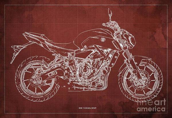 Wall Art - Digital Art - 2018 Yamaha Mt07 Blueprint  Red Background Fathers Day Gift by Drawspots Illustrations