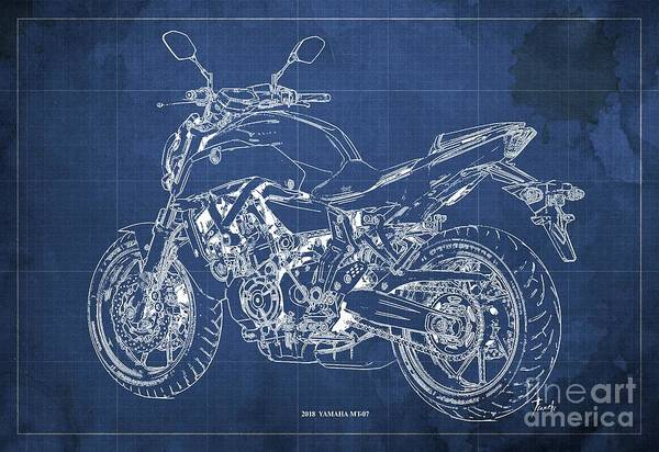 Wall Art - Digital Art - 2018 Yamaha Mt07,blueprint,blue Background,fathers Day Gift, 2018 by Drawspots Illustrations