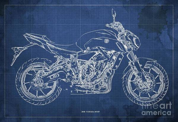 Wall Art - Digital Art - 2018 Yamaha Mt07,blueprint,blue Background,fathers Day Gift by Drawspots Illustrations