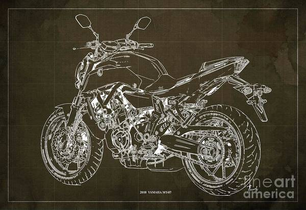 Wall Art - Digital Art - 2018 Yamaha Mt07,blueprint,brown Background,fathers Day Gift by Drawspots Illustrations