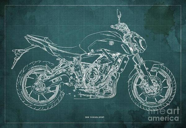 Wall Art - Digital Art - 2018 Yamaha Mt07,blueprint,green Background,fathers Day Gift,2018 by Drawspots Illustrations