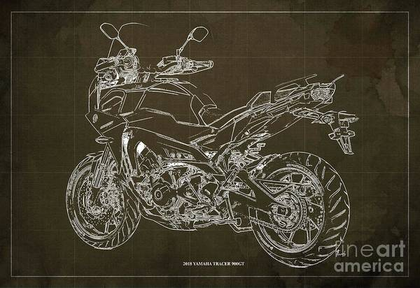 Wall Art - Digital Art - 2018 Yamaha Tracer 900gt Blueprint Brown Background Two Wheels Move The Soul by Drawspots Illustrations