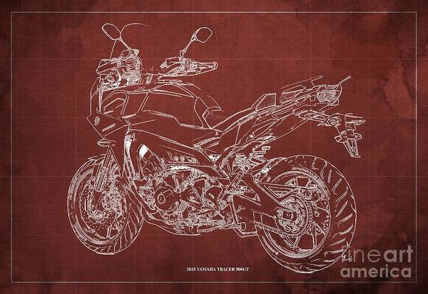 Wall Art - Digital Art - 2018 Yamaha Tracer 900gt Blueprint Red Background Gift For Dad by Drawspots Illustrations