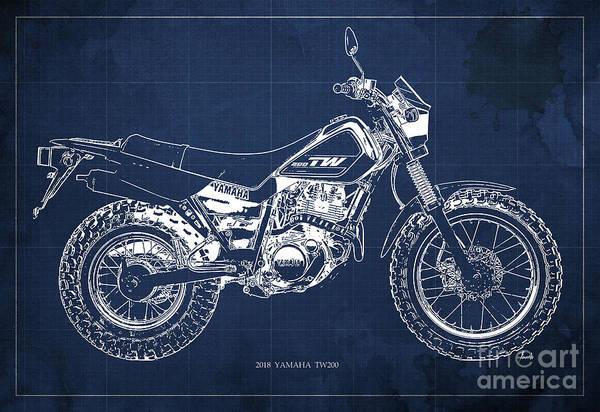 Blueprint Digital Art - 2018 Yamaha Tw200 Blueprint, Original Artwork For Man Cave Decoration, Gift For Biker by Drawspots Illustrations